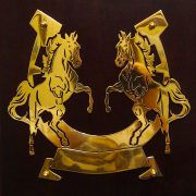 Rearing-Horses- Solid-Brass-Plaque-10