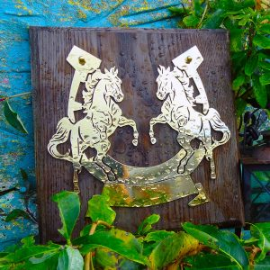 Rearing Horse Design Brass Plaque – Solid Oak Mounted