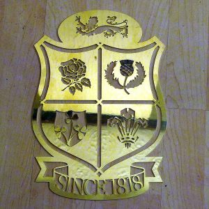 British Lions Rugby Union Design Brass Plaque