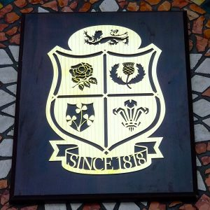 British Lions Rugby Union Design Brass Plaque – Solid Oak Mounted