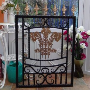 Welsh Three Feathers Wrought Iron Gate
