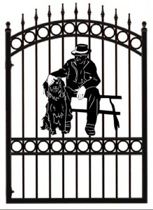 Pontypridd-Wrought-Iron-Dog-Plaque-Design-Gate-1