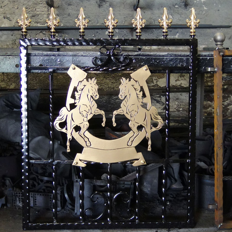 Single-custom-iron-gate-brass-exclusive-rearing-horses-design-Pontypridd-Wrought-Iron-4 900px
