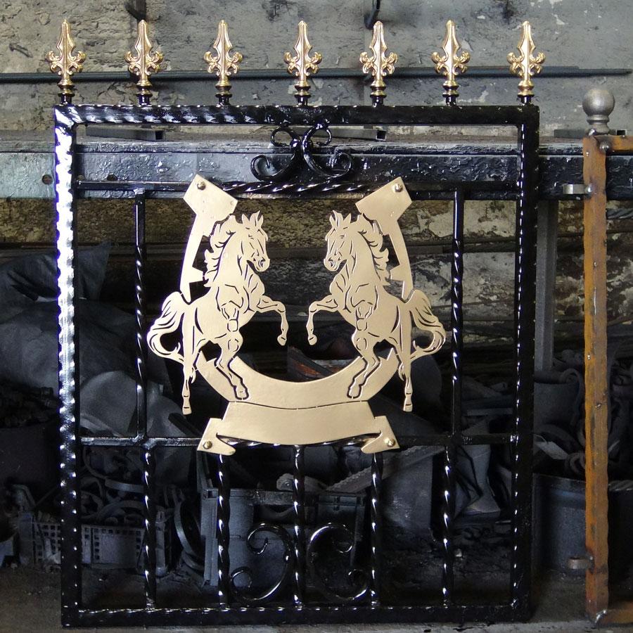 Single-custom-iron-gate-brass-exclusive-rearing-horses-design-Pontypridd-Wrought-Iron-4 900px