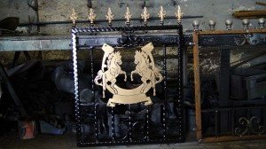 Single-custom-iron-gate-brass-exclusive-rearing-horses-design-Pontypridd-Wrought-Iron-3 1000px
