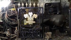Single-custom-iron-gate-brass-welsh-rugby-design-Pontypridd-Wrought-Iron-3 1000px